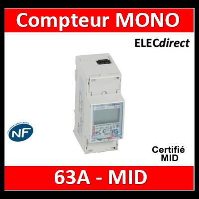 Legrand - Compteur modulaire monophasé EMDX³ MID raccordement direct 63A - 2M - avec sortie à implusions - 004678