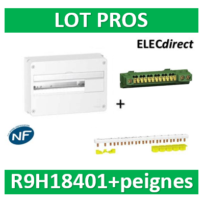 Schneider - Resi9 - coffret 18M - 1R + peigne Ph+N 18M - R9H18401+R9PXH218
