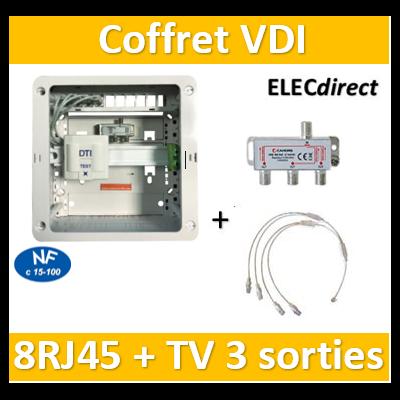 Casanova - Coffret VDI Grade 1 avec brassage - 8 RJ45 - 3 TV - CTRIETG14X4