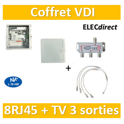 Casanova - Coffret VDI Grade 1 avec brassage - 8 RJ45 - 3 TV + porte - CTRIETG14*4