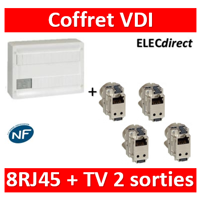 Legrand - Coffret VDI GRADE 2 avec brassage 18M STP - TV sur RJ45 - 8 RJ45 - 418248+413083x4