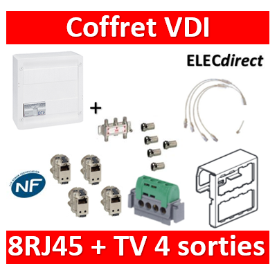 Legrand - Coffret VDI GRADE 2 avec brassage STP - 8 RJ45 / TV 4 sorties - 413248+413083x4+5 fiches F