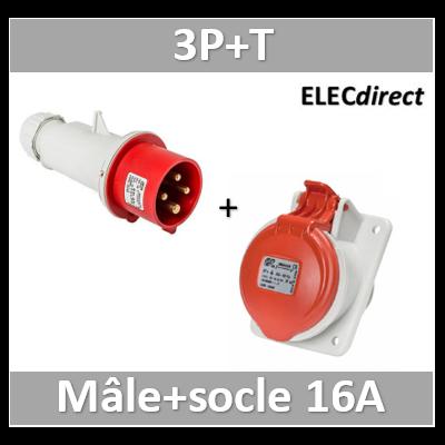 Digital - Prise de Courant Européenne encastrée 3P+T 16A + fiche mâle - 380V IP 44 - 51112+51812