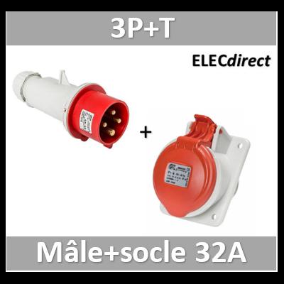 Digital - Prise de Courant Européenne encastrée 3P+T 32A + Fiche mâle - 380V IP 44 - 51114+51314