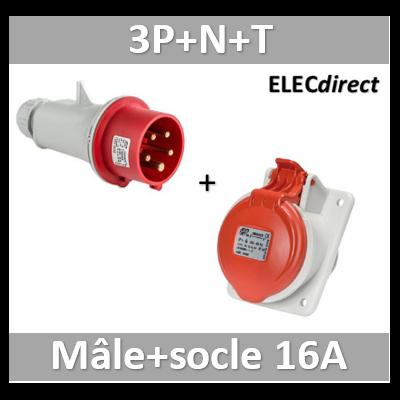 Digital - Prise de Courant Européenne encastrée 3P+T+N 16A + Fiche mâle - 380V IP 44 - 51116+51316