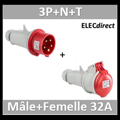 Digital - Fiche mâle 3P+N+T 32A + Fiche femelle - 380V - IP44 - 51318+51418