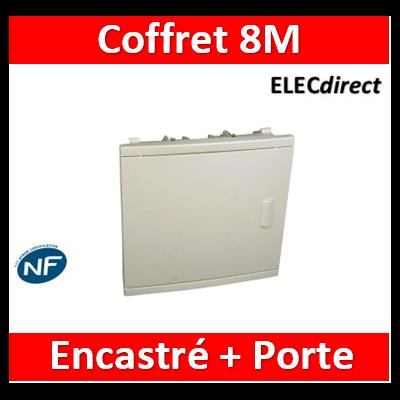 Legrand - Coffret modulaire mini encastré 1 rangée 6+2 modules 213x205x71mm - avec porte isolante blanc RAL9010  - 001410