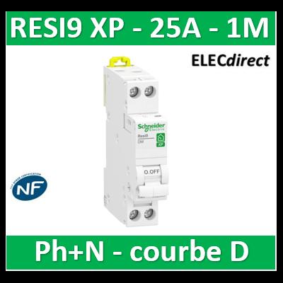 SCHNEIDER - DISJONCTEUR DUOLINE RESI9 XP (à VIS) - 25A - VIS/VIS - D - R9PFD625