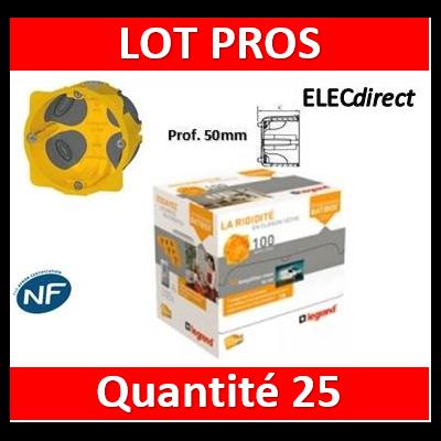 Legrand Batibox - LOT PROS - Boîte d'encastrement 1 poste BBC - Prof. 50 - 080031 x25