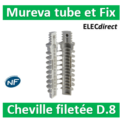 Schneider - Mureva FIX - Cheville filetée - percage 8mm - Gris par 100 - ENN48934