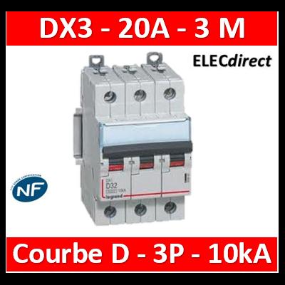 Legrand - Disjoncteur 3P DX3 20A - 10kA - courbe D - 408090