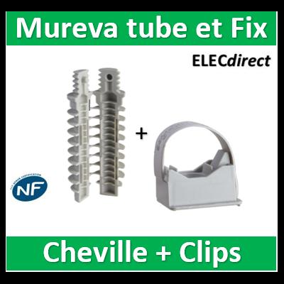 Schneider - Mureva FIX - Instalclip pour conduits Ø16 et Ø20 mm + cheville D.8 - Gris - ENN45020+ENN48934