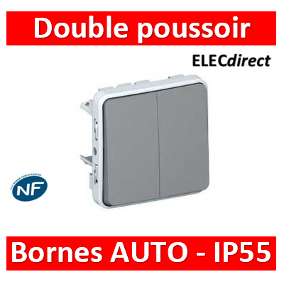 Legrand Plexo - Double Poussoir composable 10A - 230V - IP55/IK07- 069545