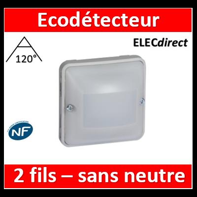Legrand - EcoDétecteur Legrand Plexo 230V - 50 Hz - Sans neutre - 2 fils - Gris/Blanc - 069520