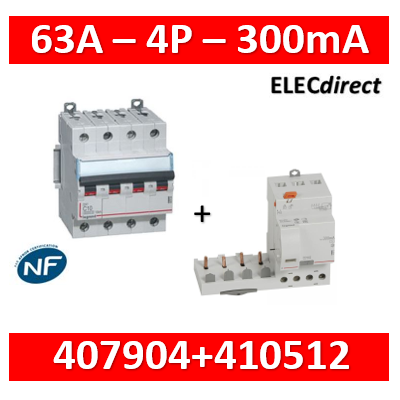 Legrand - Bloc différentiel + DX3-vis-4P-400V~-63A-typeAC-300mA - 410512+407904