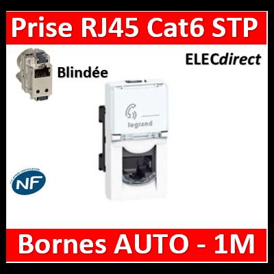 Legrand Mosaic - Prise RJ45 Cat. 6 STP - Blindage métal - 1 module - 076563