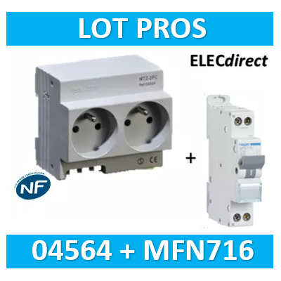 Hager - LOT PROS - Prise modulaire Digital 2P+T 16A + disjoncteur 16A - 04564 + MFN716