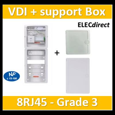 Casanova - Tableau C-Start 625 - 8RJ45 Grade 3 TV équipé DTI + Support Box- 2 coiffes + PC + portes - CST625G3CUC-SLD