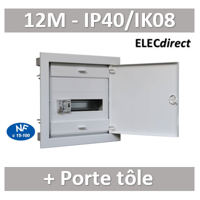 Digital electric - Coffret encastré vide - IP40 porte métal extra plate - 1 rangée - 12 mod - 07432