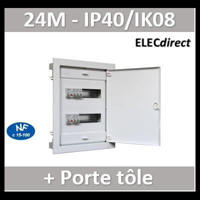 Digital electric - Coffret encastré vide - IP40 porte métal extra plate - 2 rangées - 24 mod - 07434