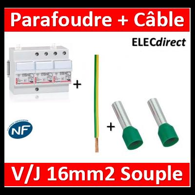 Legrand - Parafoudre TRI 380V - Type 2 + Câble 16mm2 L.50cm V/J souple + embouts