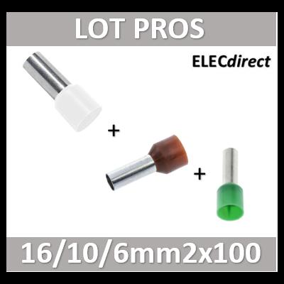 Embout de câblage Blanc 16mm2 x100 / 10mm2x100 / 6mm2x100 - 41056+41055+41054