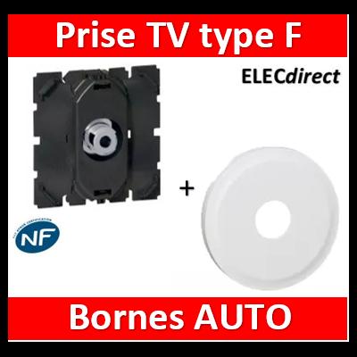 Legrand - Prise TV Céliane - simple - type ''F'' 0-2 400 MHz + enjoliveur TV - à visser - 067380+068282