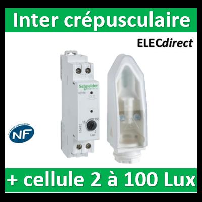 Schneider - Acti9 IC 100 - interrupteur crépusculaire - 2..100 lux - avec cellule murale - CCT15482