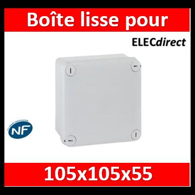 Legrand - Boîte de dérivation carrée faces lisses pour presse-étoupe Plexo 105x105x55mm - gris RAL7035 - 092020