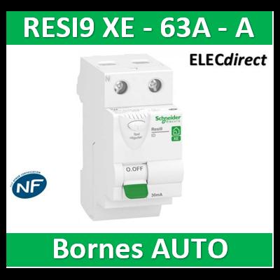 SCHNEIDER - Inter différentiel RESI9 XE 2P - 63A - 30ma - Type A - R9ERA263