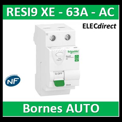 SCHNEIDER - Inter différentiel RESI9 XE 2P - 63A - 30ma - Type AC - R9ERC263
