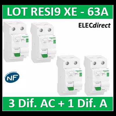 SCHNEIDER - LOT de 4 inter dif. XE - (3-ID 2x63A 30mA AC/1 - ID 2x63A 30mA A) R9ERC263x3+R9ERA263