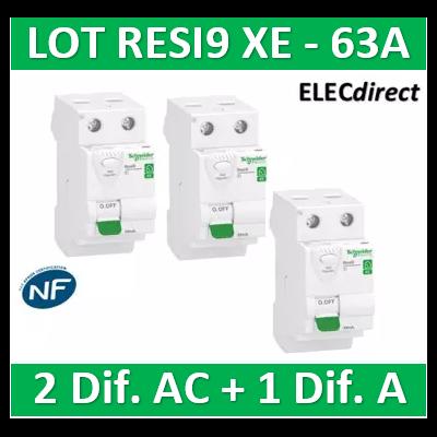 SCHNEIDER - LOT de 3 inter dif. XE - (2-ID 2x63A 30mA AC/1 - ID 2x63A 30mA A) R9ERC263x2+R9ERA263