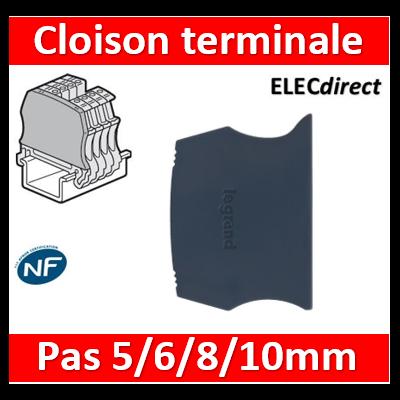 Legrand - Cloison terminale pour Bloc de jonction Viking 3 à vis - 1 entr/1 sort - pas 5,6,8,10 - 037550