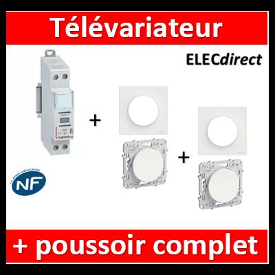 LEGRAND - Variateur modulaire LEDs + 2 poussoirs Odace - 002671+S520206x2+S520702x2