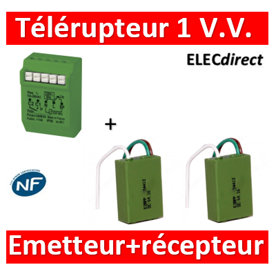 Yokis - Télérupteur Temporisé 2000W Gamme Radio Power + 2 émetteurs pour VV ou BP - MTR2000ERP+E2BPPx2