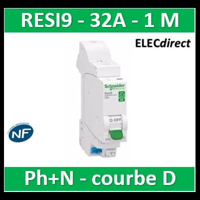 SCHNEIDER - DISJONCTEUR DUOLINE RESI9 XE (AUTO) - 32A - VIS/VIS - D - R9EFD632