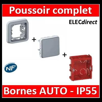 Legrand Plexo - Poussoir encastré 10A - 230V - IP55/IK07 + Boîte Legrand - 069540-069681+080141
