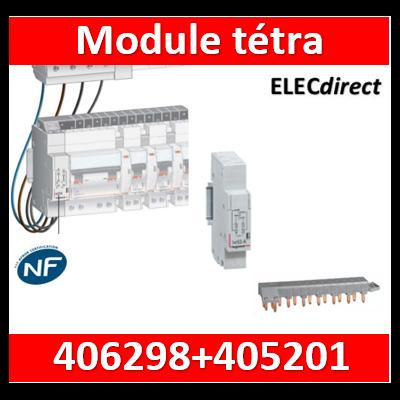 Legrand - Module de raccordement tétrapolaire + peigne 13M optimisé - 406298+405201