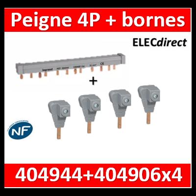 Legrand - Peigne d'alimentation HX3 - 4P - Pour bornes à vis - 12M + bornes d'alimentation - 404944+404906x4