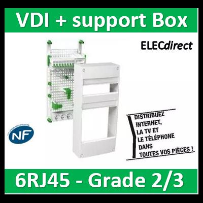 Schneider - Coffret communication avec emplacement BOX Grade 2 et 3 - 6RJ45 - VDIR390036