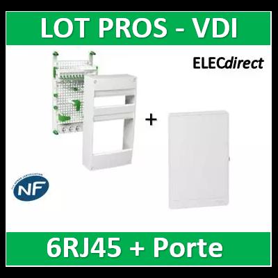 Schneider - Coffret communication avec emplacement BOX - 6RJ45 -Grade 2 et 3 + porte - VDIR390036+R9H13423