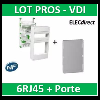 Schneider - Coffret communication avec emplacement BOX - 6RJ45 - Grade 2 et 3 + porte - VDIR390036+R9H13427