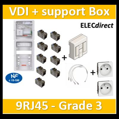 Casanova - Tableau C-Start 625 - 9RJ45 Grade 3 TV équipé DTI + Support Box- 2 coiffes + 2 PC - CST625G3CUC-SLD