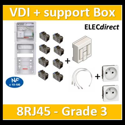 Casanova - Tableau C-Start 625 - 8RJ45 Grade 3 TV équipé DTI + Support Box- 2 coiffes + 2 PC - CST625G3CUC-SLD