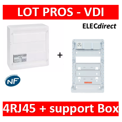 Legrand - Coffret VDI GRADE 2 - 4 RJ45 + support BOX Casanova - 413248+ZA375
