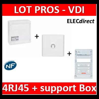 Legrand - Coffret VDI GRADE 2 - 4 RJ45 + Porte + Support Box Casanova - 413248+401331+ZA375