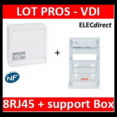 Legrand - Coffret VDI GRADE 2 - 8 RJ45 + support BOX Casanova - 413248+413083x4+ZA375