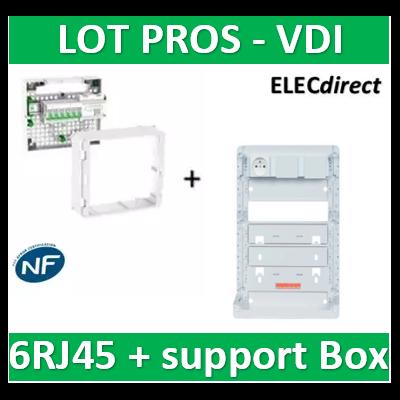 Schneider - Coffret VDI Grade 2 LexCom ECO-PACK 6 RJ45 + Support Box - VDIR390026+ZA375