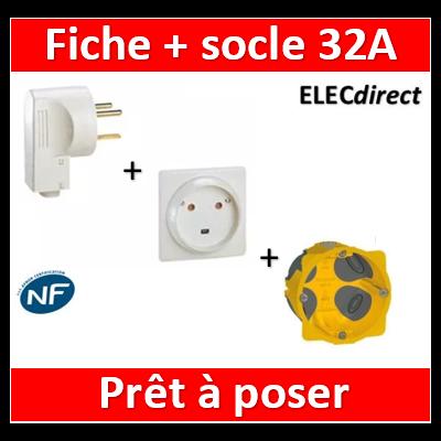 Legrand - Socle 32A - Plast - 2P+T - à VIS - éclips + Fiche 2P+T 32A + boîte - 055812+055802+080086